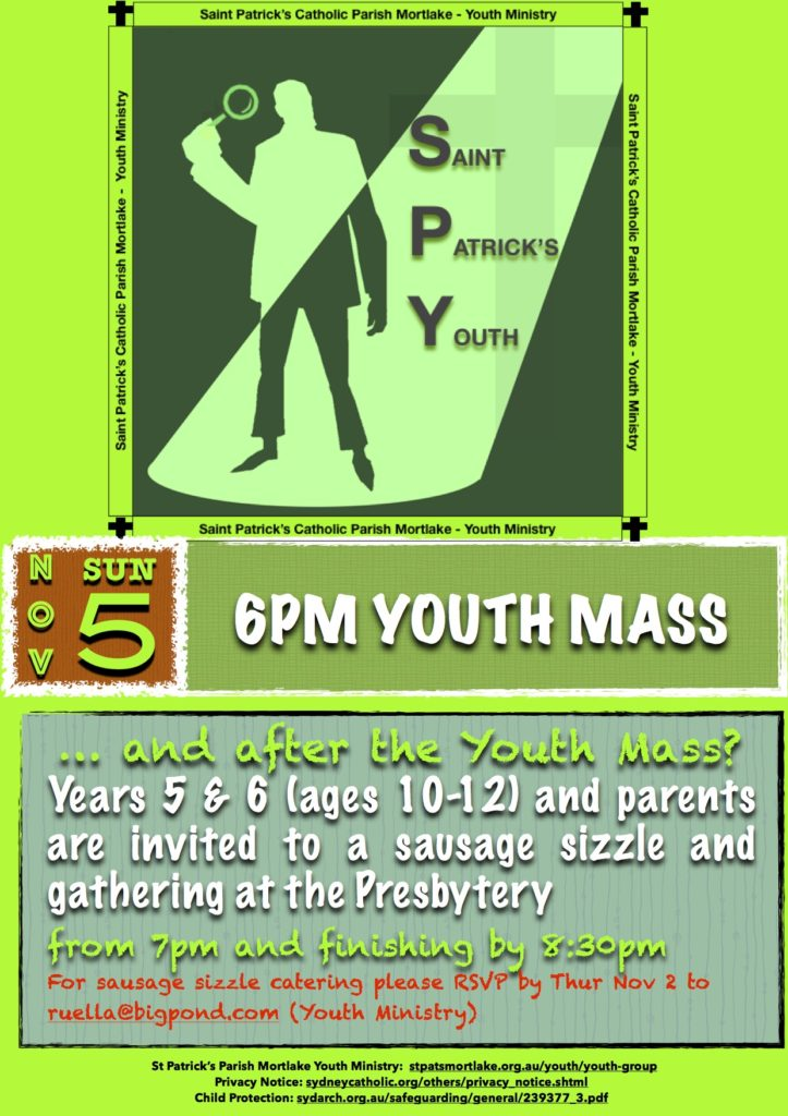 SPY Youth Mass 6pm Nov 5